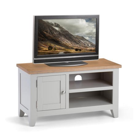 "Light Grey Small TV Unit with Oak Top - TV's up to 45"" -  Julian Bowen Richmond"