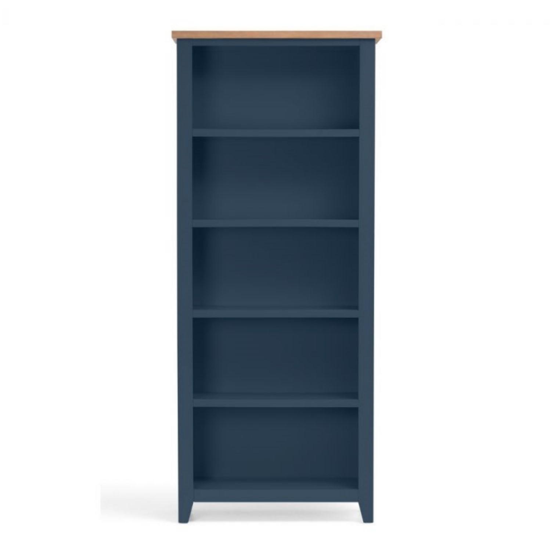 Julian Bowen Blue Bookcase With Oak Top Richmond Range