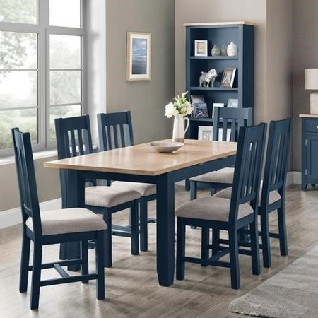 Julian Bowen Richmond Dining Table and 6 Richmond Chairs in Blue