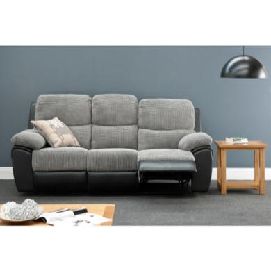 World Furniture Rio 3 Seater Recliner in Grey/Black