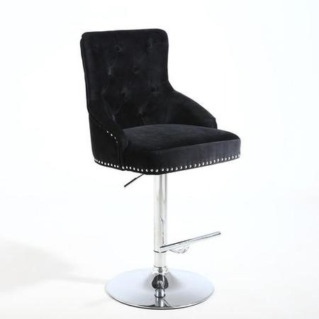 Adjustable Bar Stool in Black Velvet with Silver Studs - Rocco