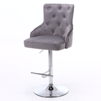 Adjustable Bar Stool in Silver Grey Velvet with Silver Studs - Rocco