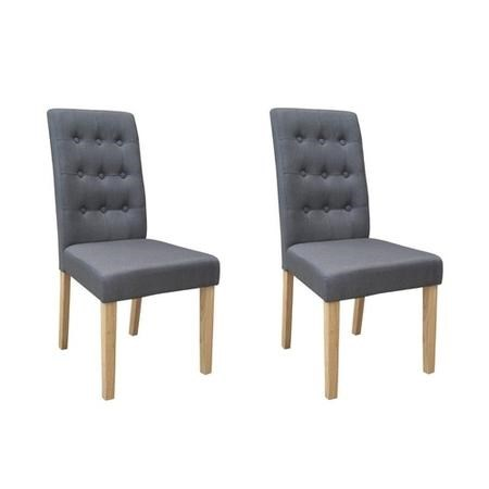 Pair of Dining Chairs in Grey with Button Back - Roma