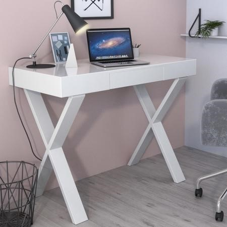 White Gloss Office Desk with Drawer - Roxy