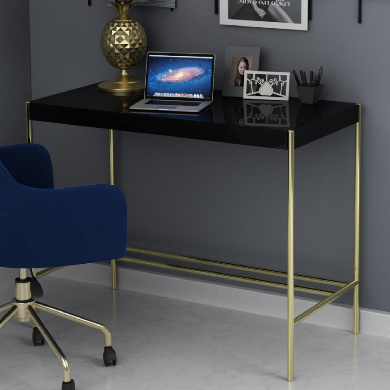 Modern Black Desk With Gold Legs Roxy Furniture123