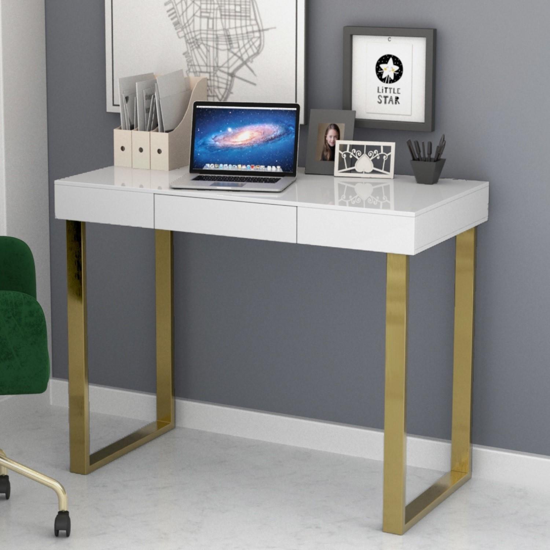 Modern White Desk With Gold Legs Roxy Furniture123