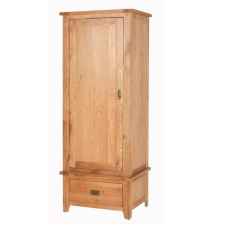 Cherbourg rustic oak single wardrobe with drawer for Furniture 123 wardrobes