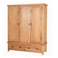 Cherbourg Rustic Oak Triple Wardrobe With Drawers