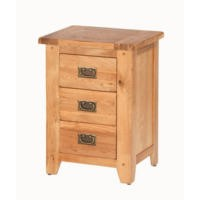 Cherbourg Rustic Oak 3 Drawer Bediside Cabinet