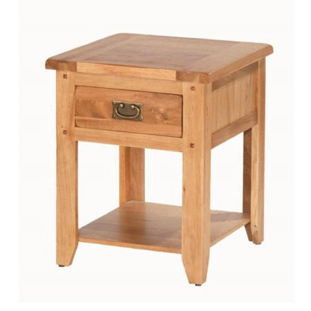 Cherbourg Rustic Oak 1 Drawer Bedside Table