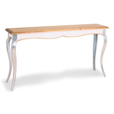 Vintage Glam Pine Console Table in White with Aluminium Legs