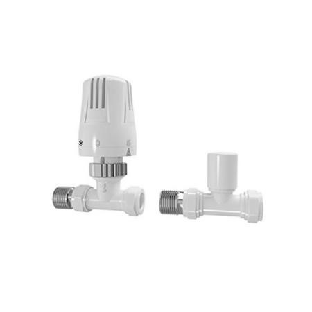 Straight TRV Economy Radiator Valve - White Head