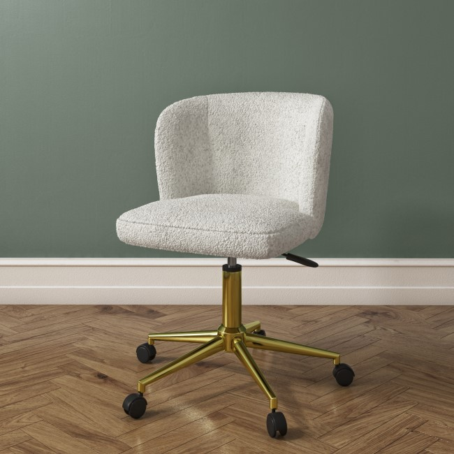 Rowan Cream Teddy Fabric Office Chair with Gold Legs