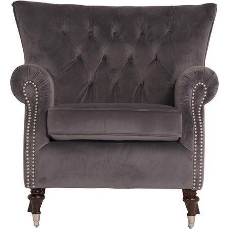 Rigby Armchair in Grey Velvet with Button Back & Silver Studded Detail