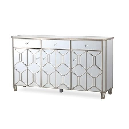 Rosa Large Mirrored Sideboard with Crystal Handles - Vida Living