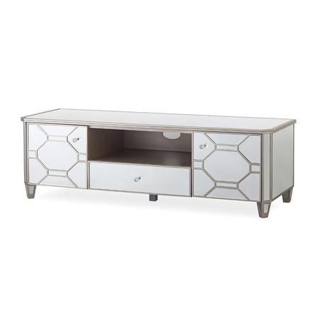 Rosa Mirrored TV Unit with Patterns & Storage - Vida Living
