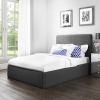 Safina Double Ottoman Bed in Charcoal Grey Fabric