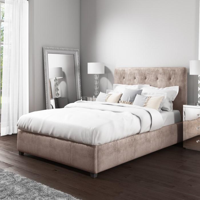 Safina Double Ottoman Bed in Beige Velvet | Furniture123