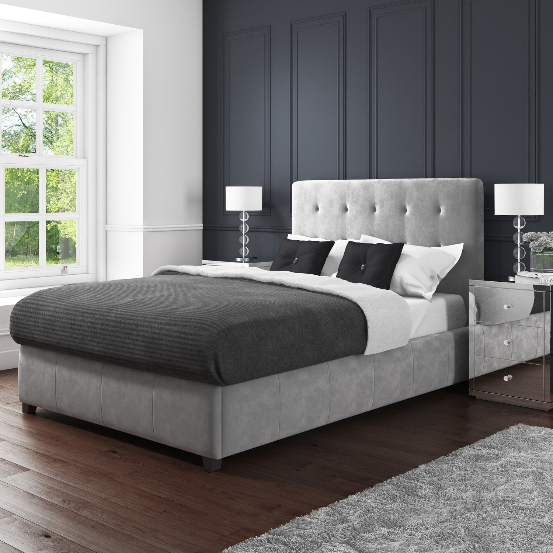 Safina Kingsize Ottoman Bed In Grey Velvet