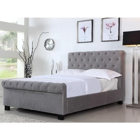 Grade A1 Safina Roll Top Double Sleigh Bed Frame In Grey Velour Furniture123