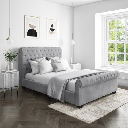 safina roll top double sleigh bed frame in grey velour
