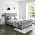 Safina Roll Top Double Sleigh Bed in Grey Velvet