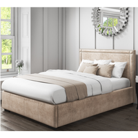 Safina Double Ottoman Bed with Stud Detailing in Beige Velvet