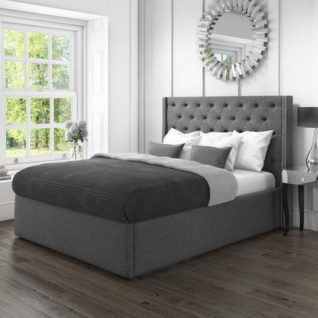 Safina Double Wing Back Ottoman Bed with Stud Detail in Woven Charcoal Grey