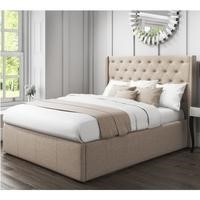 Safina Wing Back Double Ottoman Bed with Stud Detailing in Woven Beige