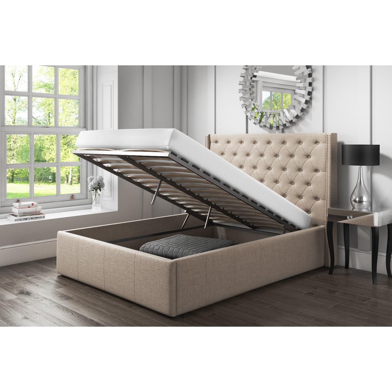 Fantastic Grade A1 Safina Wing Back Double Ottoman Bed With Stud Detailing In Woven Beige Spiritservingveterans Wood Chair Design Ideas Spiritservingveteransorg