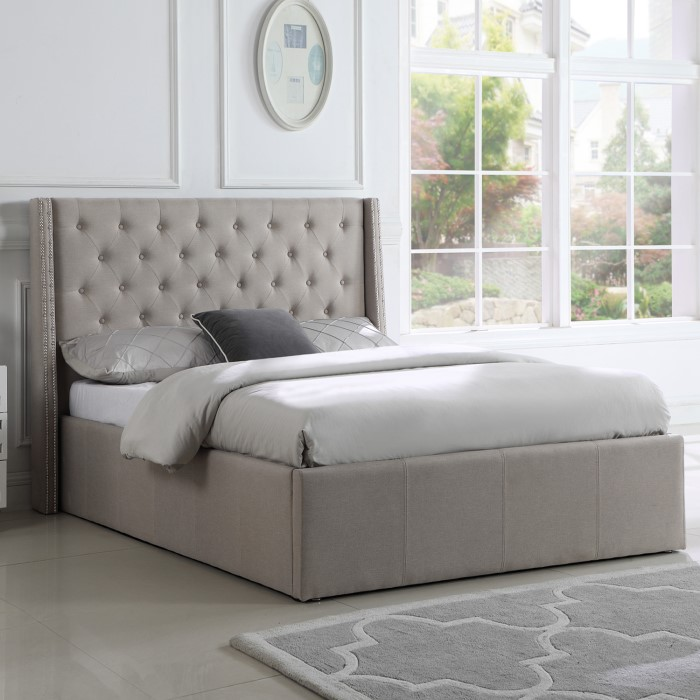 c095173c6539 GRADE A1 - Safina King Size Wing Back Ottoman Bed with Stud Detailing in  Woven Beige 77425315/1/SAF018