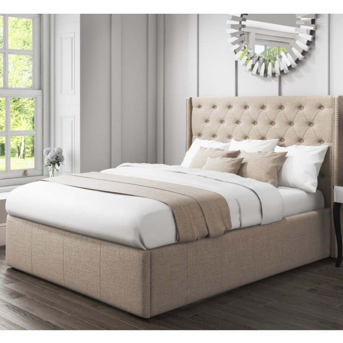 210157d4abe6 Safina King Size Wing Back Ottoman Bed with Stud Detailing in Woven Beige  SAF018