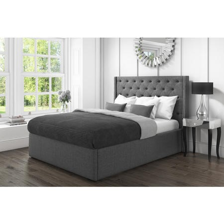 Safina Double Wing Back Bed with Stud Detail in Woven Charcoal Grey