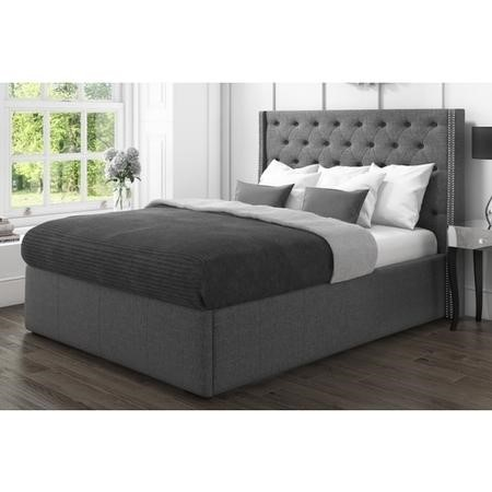GRADE A1 - Safina King Size Wing Back Bed with Stud Detail in Woven Grey Fabric