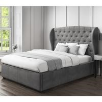 Grey Stud Detail Double Bed