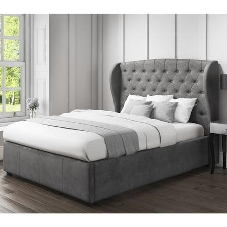 Safina Wing Back Double Ottoman Bed In Grey Velvet