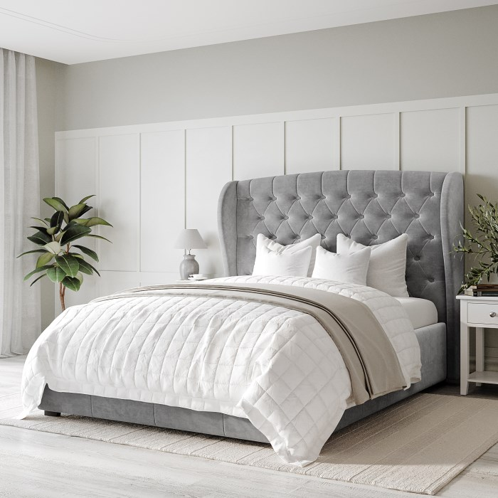 Safina Wing Back Double Ottoman Bed In Grey Velvet Furniture123