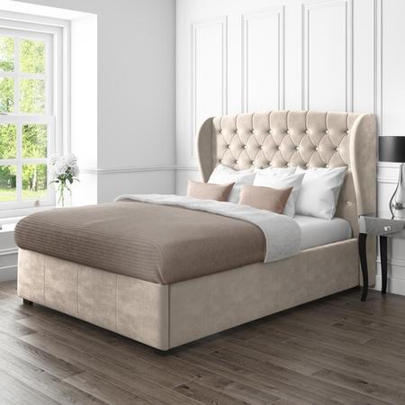 Safina Wing Back Double Ottoman Bed In Beige Velvet