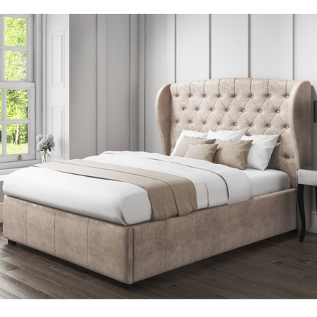 GRADE A1 - Safina Wing Back Double Ottoman Bed In Beige Velvet