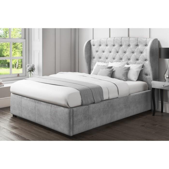 54ab62a7d2bf GRADE A1 - Safina Wing Back King Size Ottoman Bed in Grey Velvet  77471129/1/SAF023