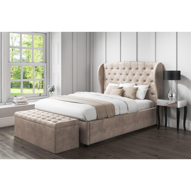 Safina Wing Back King Size Ottoman Bed In Beige Velvet Furniture123