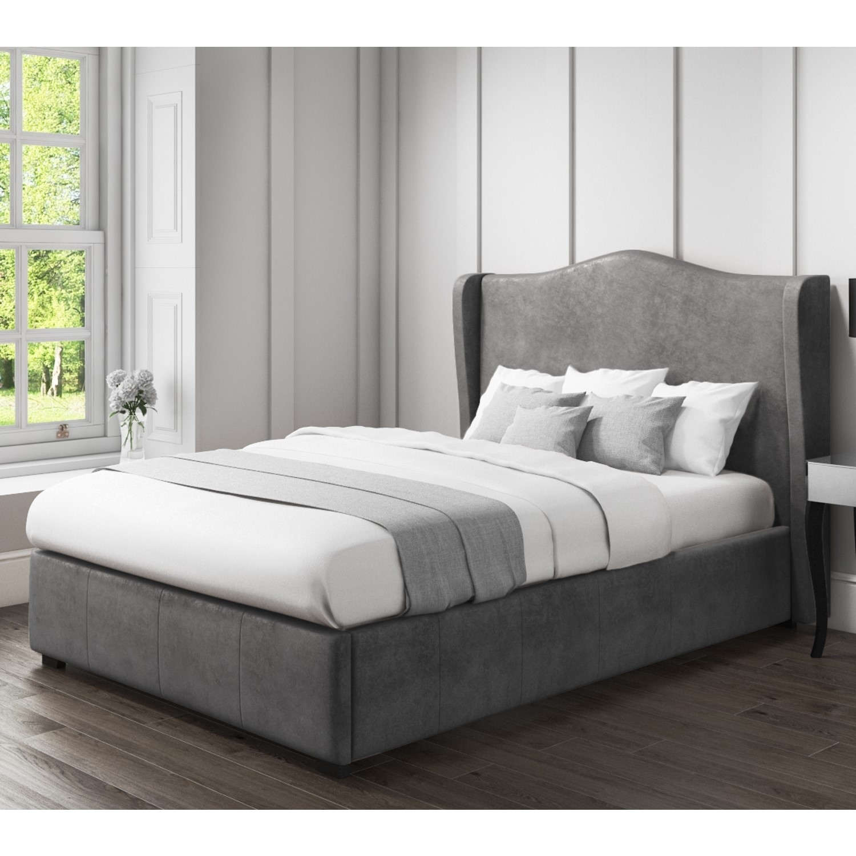 Surprising Safina Wing Back King Size Ottoman Bed In Grey Velvet Machost Co Dining Chair Design Ideas Machostcouk