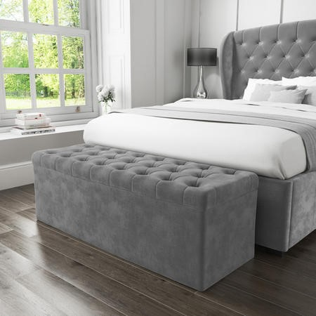 Safina Ottoman Storage Box In Grey Velvet Furniture123
