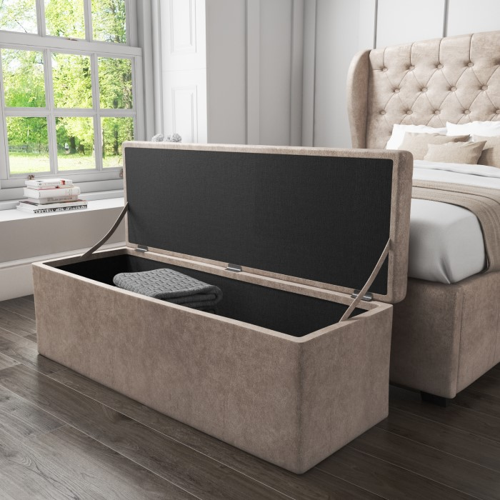 Ottomans Deacon Beige Upholstered Blanket Box: Safina Ottoman Storage Box In Beige Velvet
