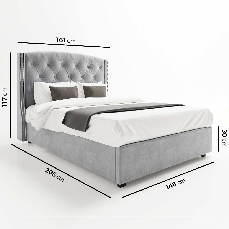 Tremendous Safina Wing Back Double Ottoman Bed In Silver Grey Velvet Spiritservingveterans Wood Chair Design Ideas Spiritservingveteransorg