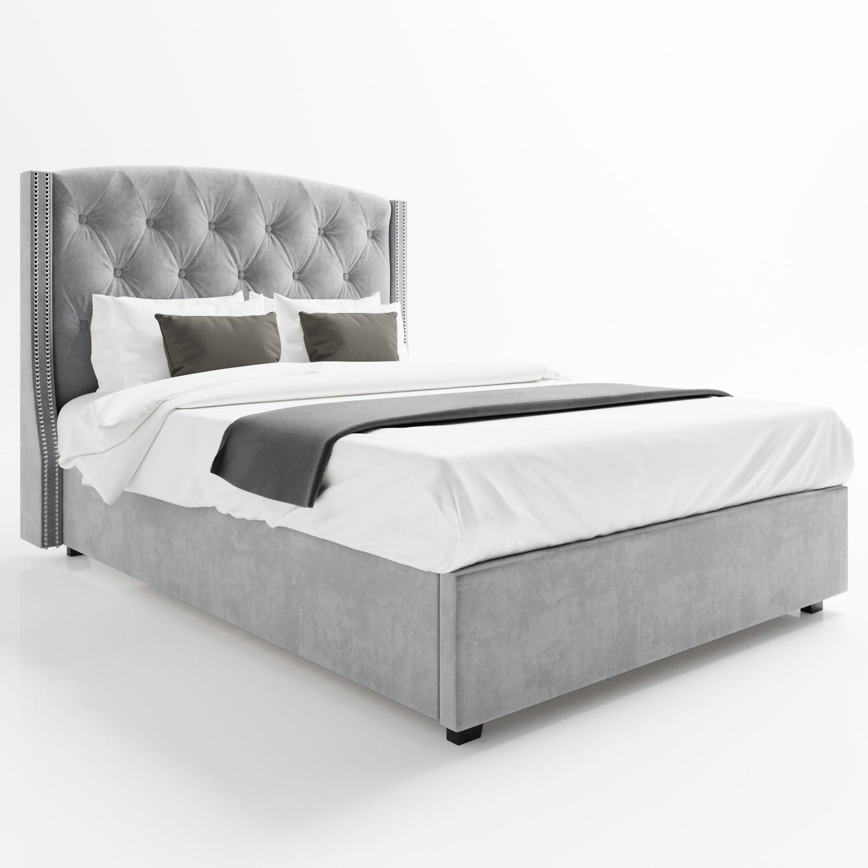 Superb Safina Wing Back Double Ottoman Bed In Silver Grey Velvet Spiritservingveterans Wood Chair Design Ideas Spiritservingveteransorg