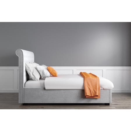 GRADE A1 - Safina Rolltop King Size Ottoman Bed in Silver/Grey Velvet
