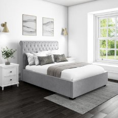 dd38ab70dad5 Safina Rolltop King Size Ottoman Bed in Silver/Grey Velvet