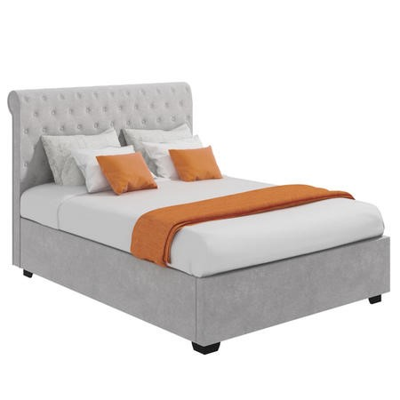 Safina Rolltop King Size Ottoman Bed in Silver/Grey Velvet