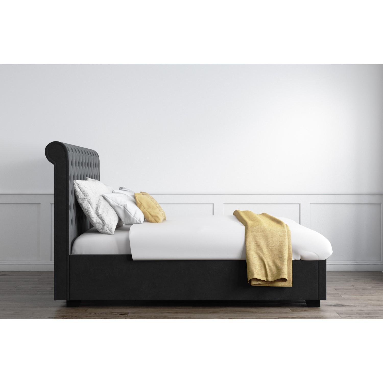 Safina Rolltop King Size Ottoman Bed In Dark Grey Velvet Furniture123